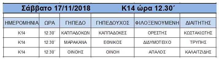 ΠΡΟΓΡΑΜΜΑ ΑΓΩΝΩΝ ΠΡΩΤΑΘΛΗΜΑΤΟΣ ΥΠΟΔΟΜΩΝ Κ-14 «ΖΕΝΟΠ» ΠΕΡΙΟΔΟΥ 2018-2019