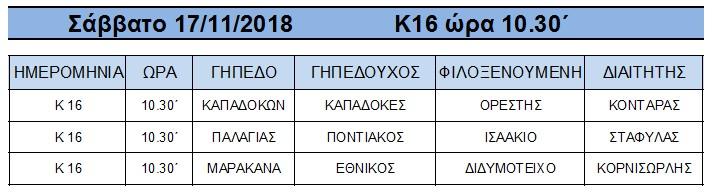 ΠΡΟΓΡΑΜΜΑ ΑΓΩΝΩΝ ΠΡΩΤΑΘΛΗΜΑΤΟΣ ΥΠΟΔΟΜΩΝ Κ-16 «ΖΕΝΟΠ» ΠΕΡΙΟΔΟΥ 2018-2019