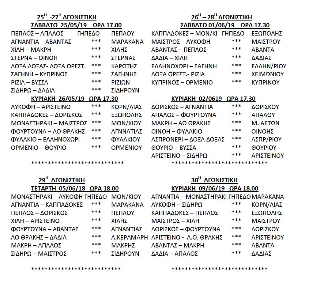 Πρόγραμμα αγώνων Β' γύρου της Β' ερασιτεχνικής κατηγορίας 2018-2019 ΕΠΣ Έβρου – ΣΕΡΚΕΛΙΔΟΥ