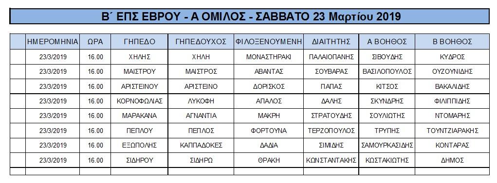 Β΄ ΕΠΣ ΕΒΡΟΥ - Α ΟΜΙΛΟΣ - ΣΑΒΒΑΤΟ 23 Μαρτίου 2019