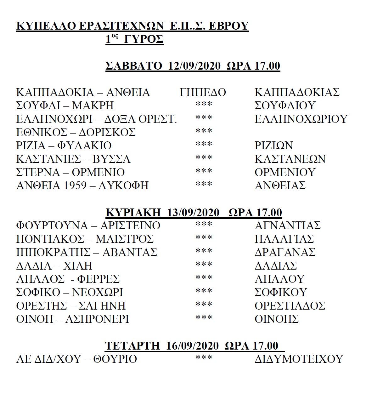 Αγώνες Κυπέλλου Ερασιτεχνών ΕΠΣ Έβρου του Σαββάτου 12-9-2020, 1ος γύρος, ώρα έναρξης 17:00