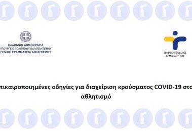 Επικαιροποιημένες οδηγίες για διαχείριση κρούσματος COVID-19 στον αθλητισμό